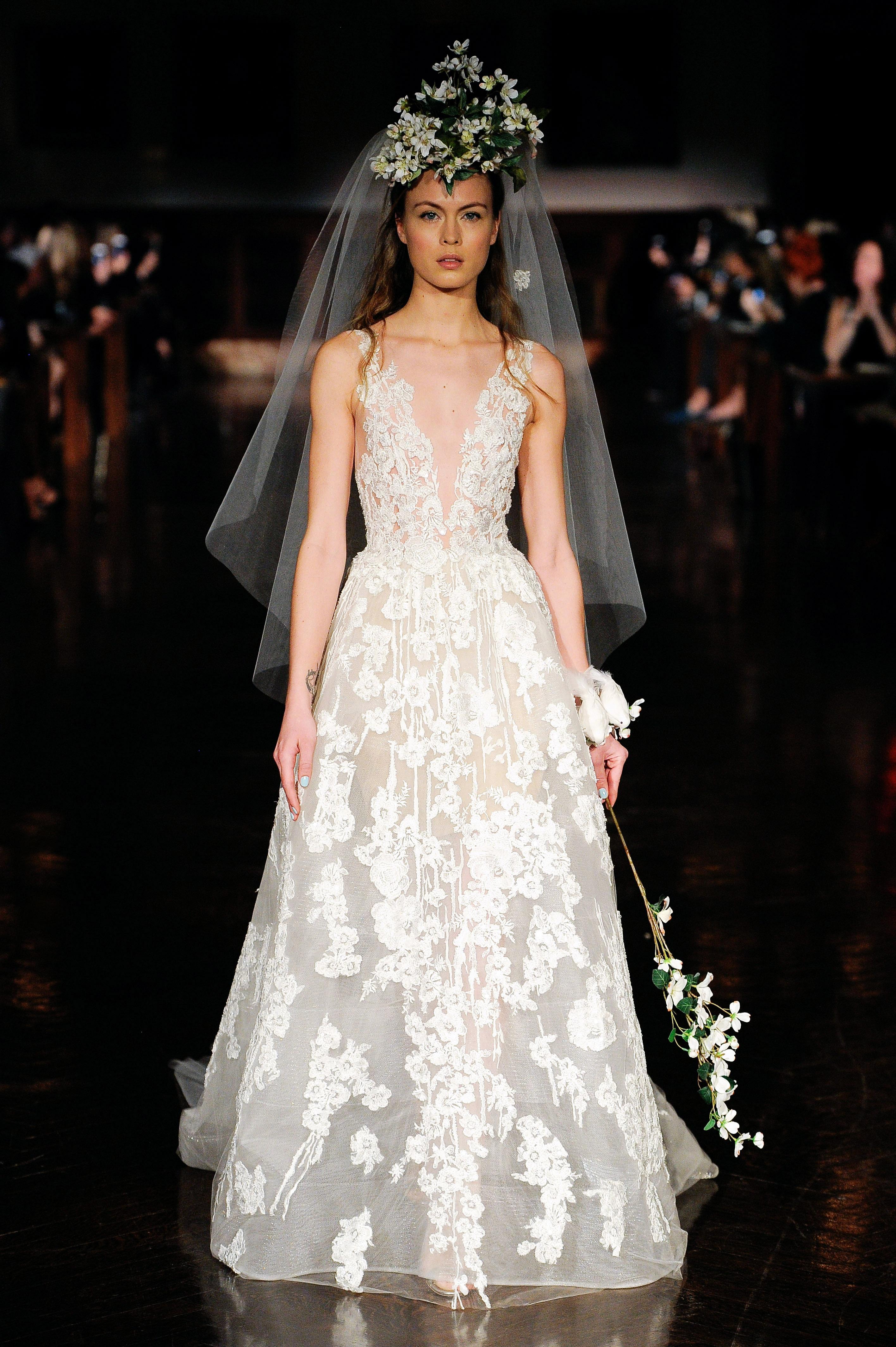 reem acra wedding dress spring 2019 v-neck a-line sheer lace