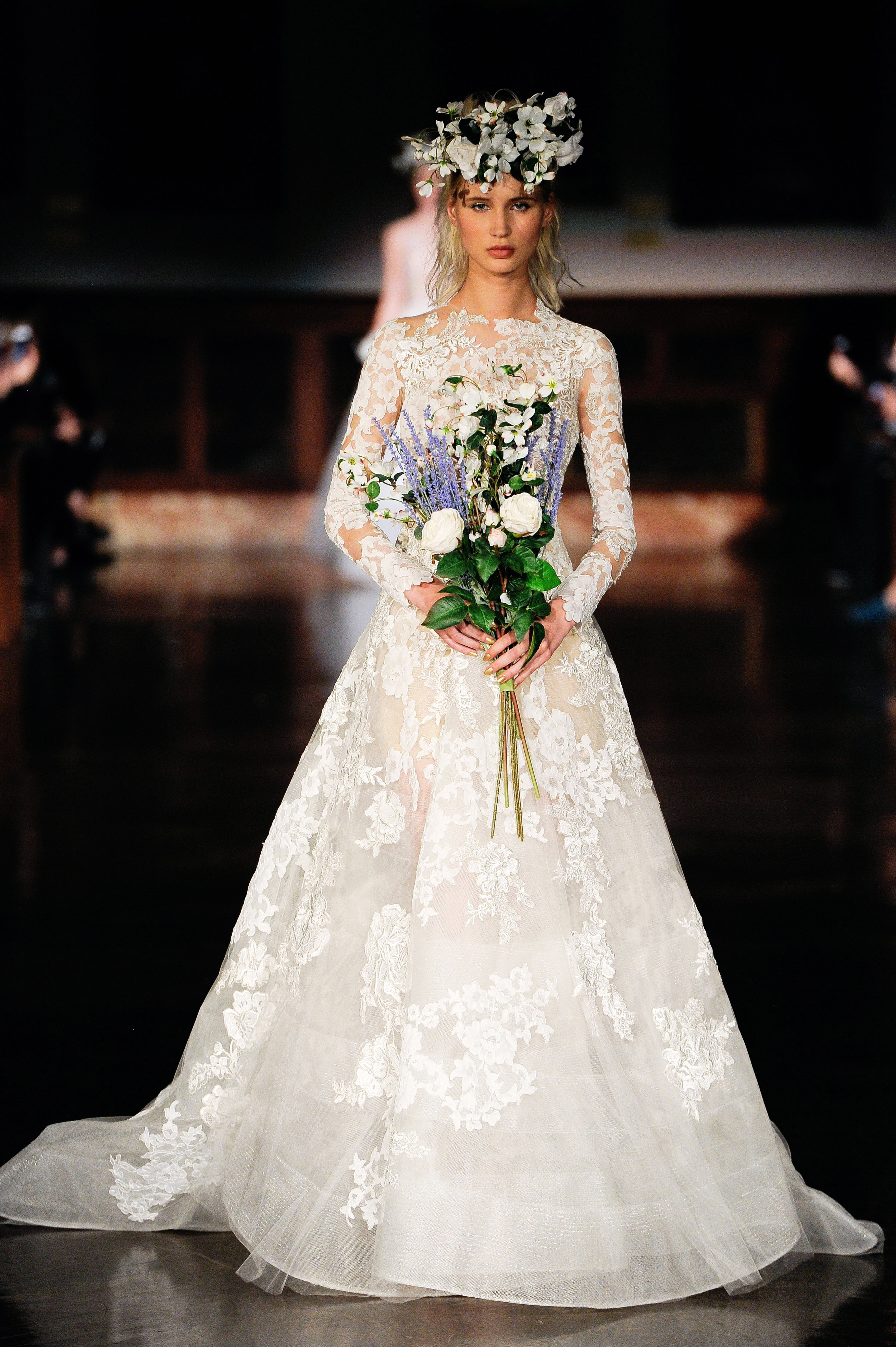 reem acra wedding dress spring 2019 long sleeves lace a-line