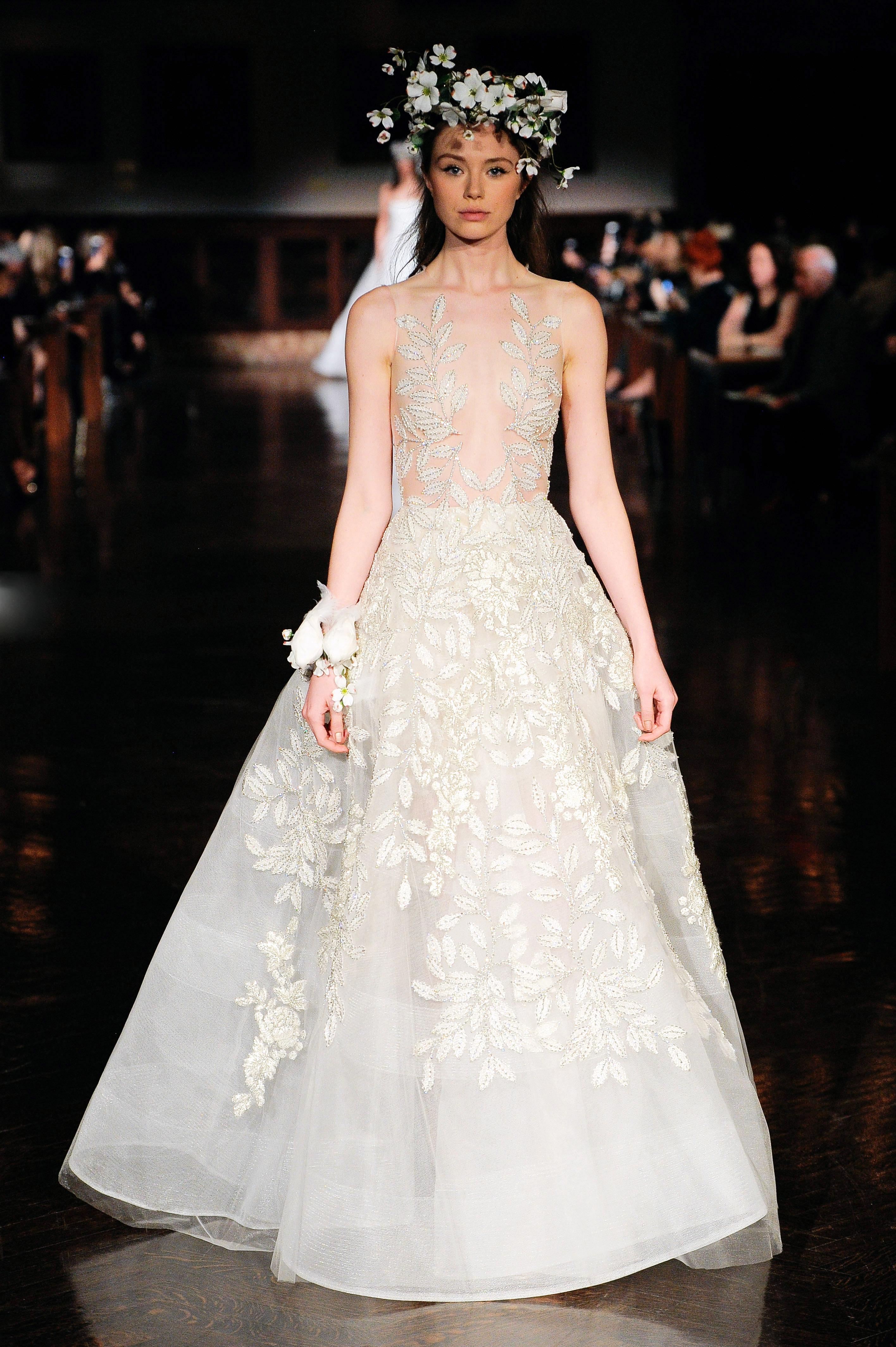 reem acra wedding dress spring 2019 a-line sheer sleeveless