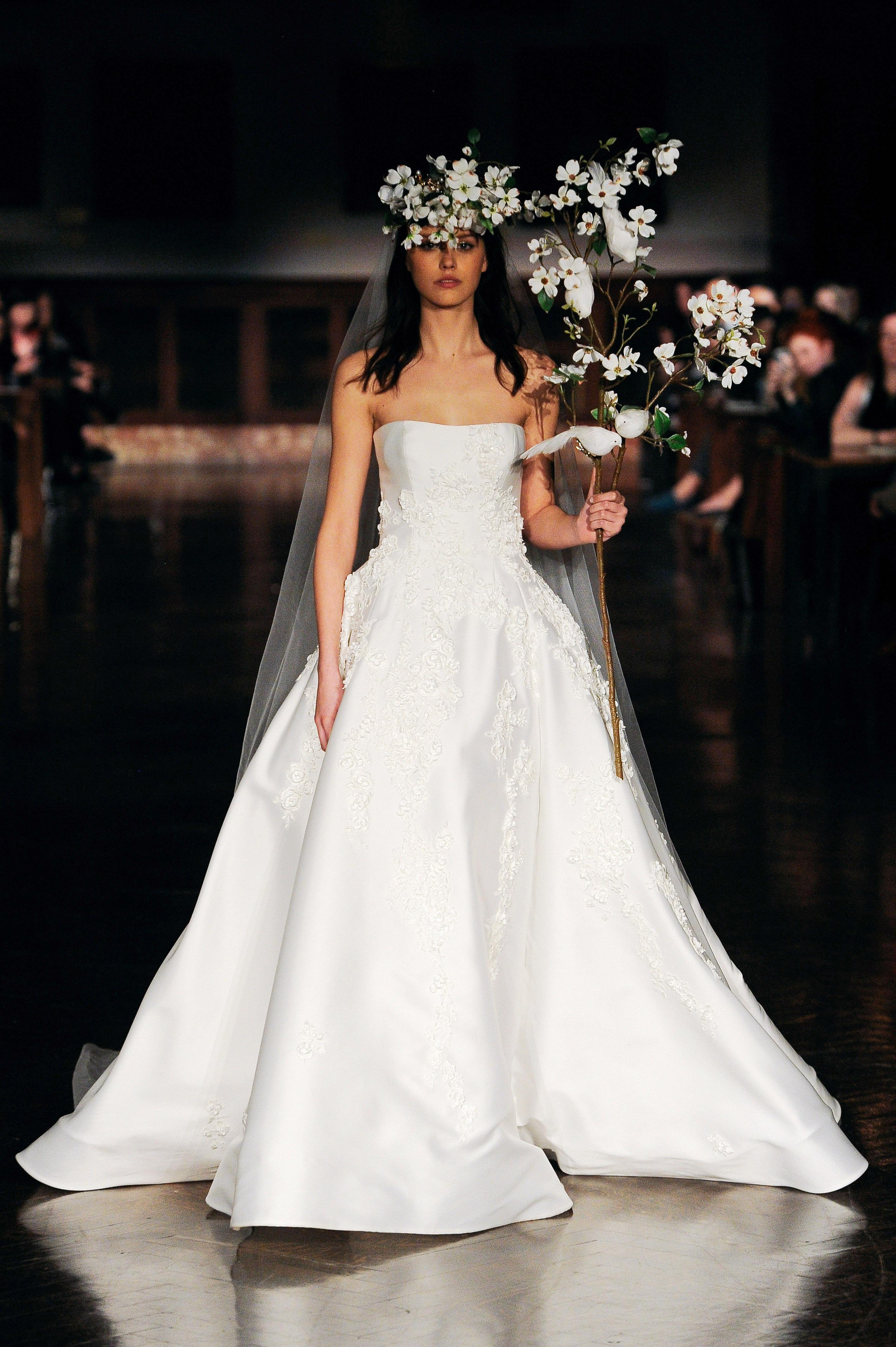 reem acra wedding dress spring 2019 strapless ball gown beading