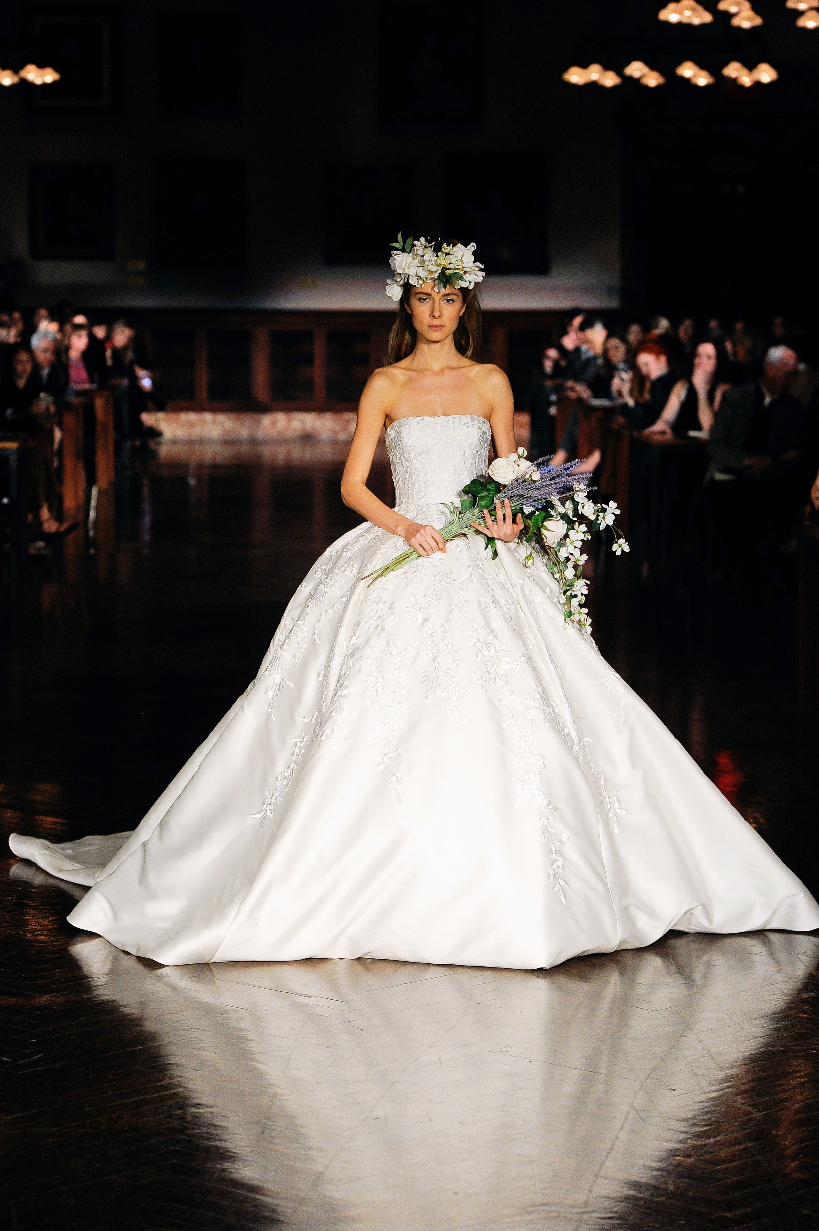 reem acra wedding dress spring 2019 strapless ball gown detail