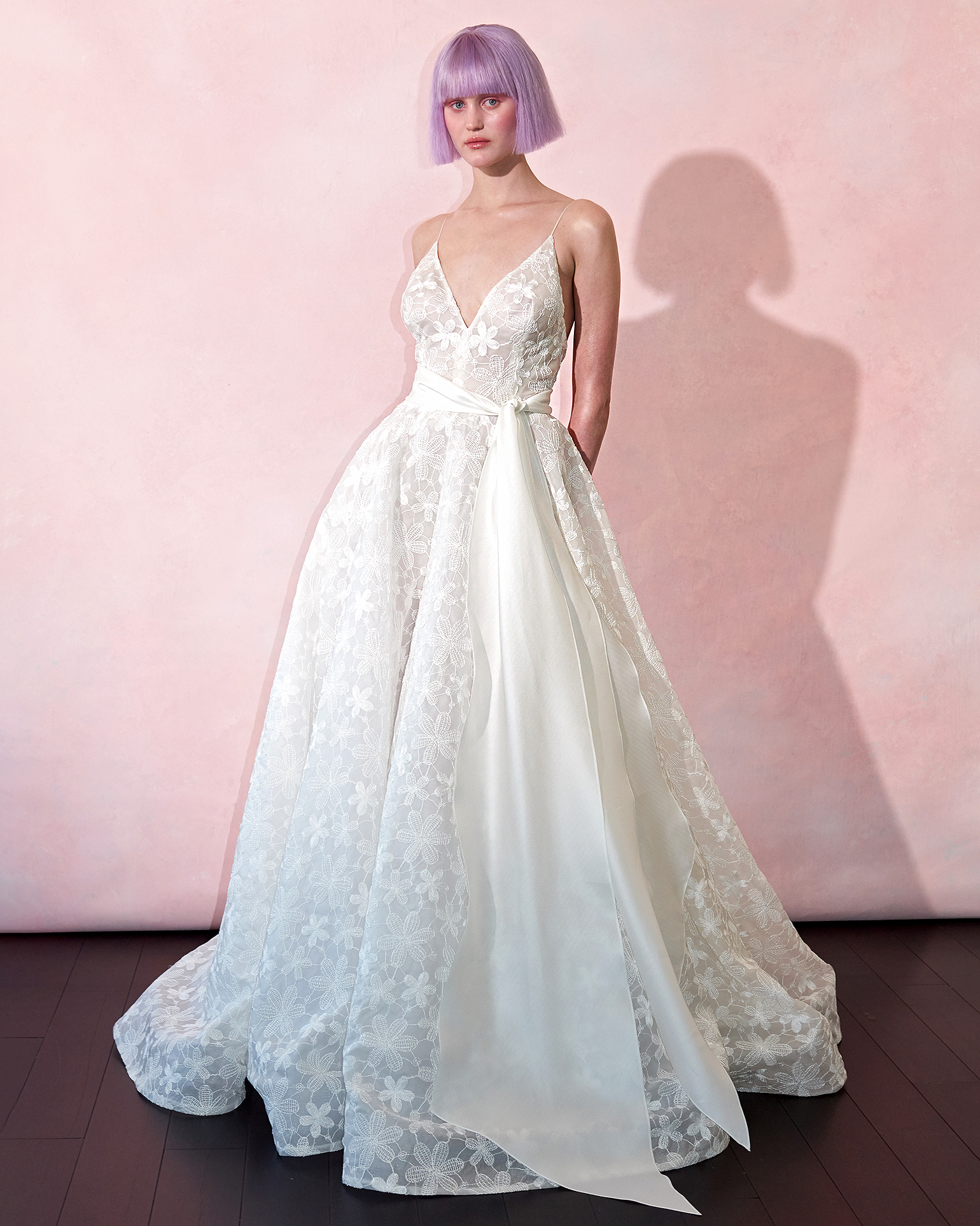 isabelle armstrong wedding dress spring 2019 embroidered flowers long sash
