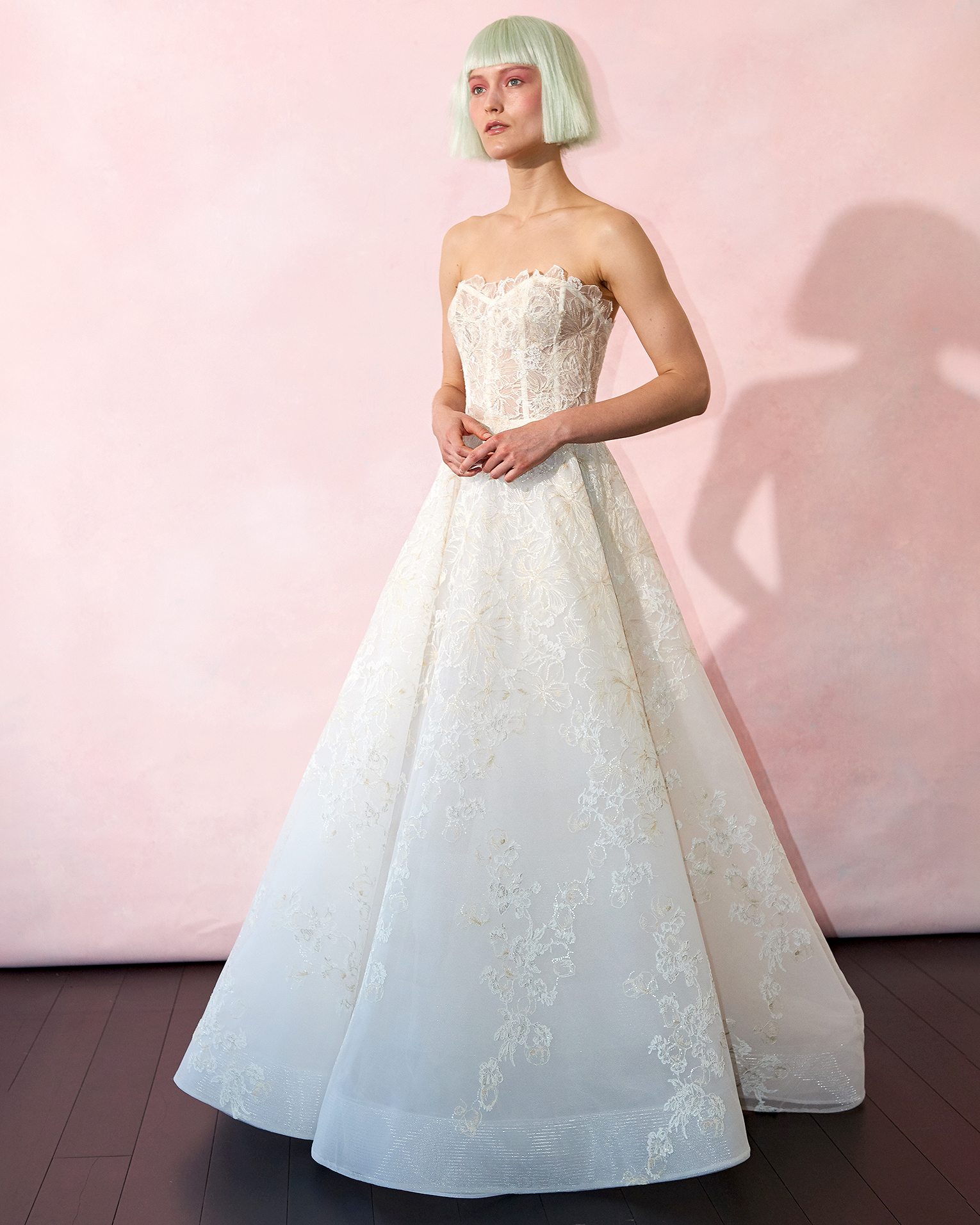 isabelle armstrong wedding dress spring 2019 corseted bodice lace ruffle neck