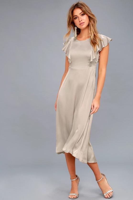 silk silver bridesmaid dress