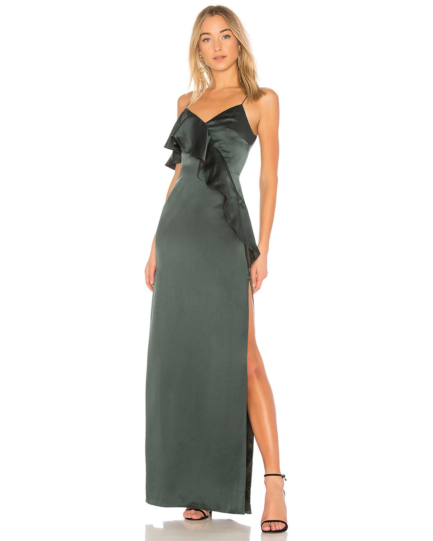 green silk dress
