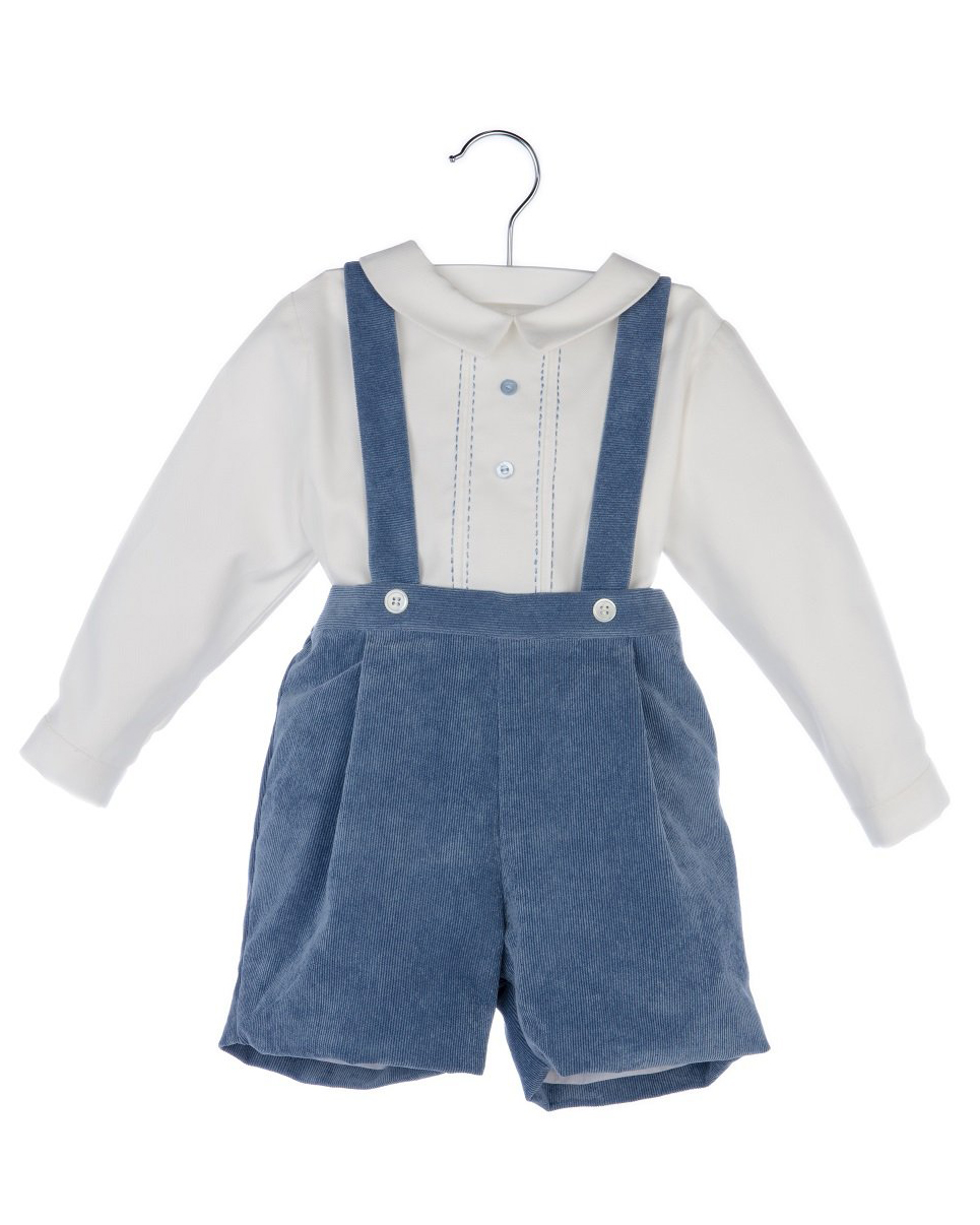 Luli & Me Blue Suspender Pants Set