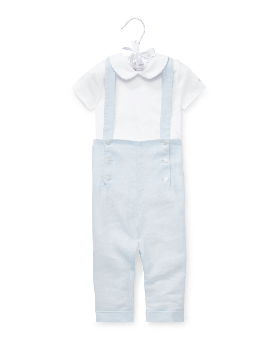 Ralph Lauren Peter Pan Collar Bodysuit with Button Overalls