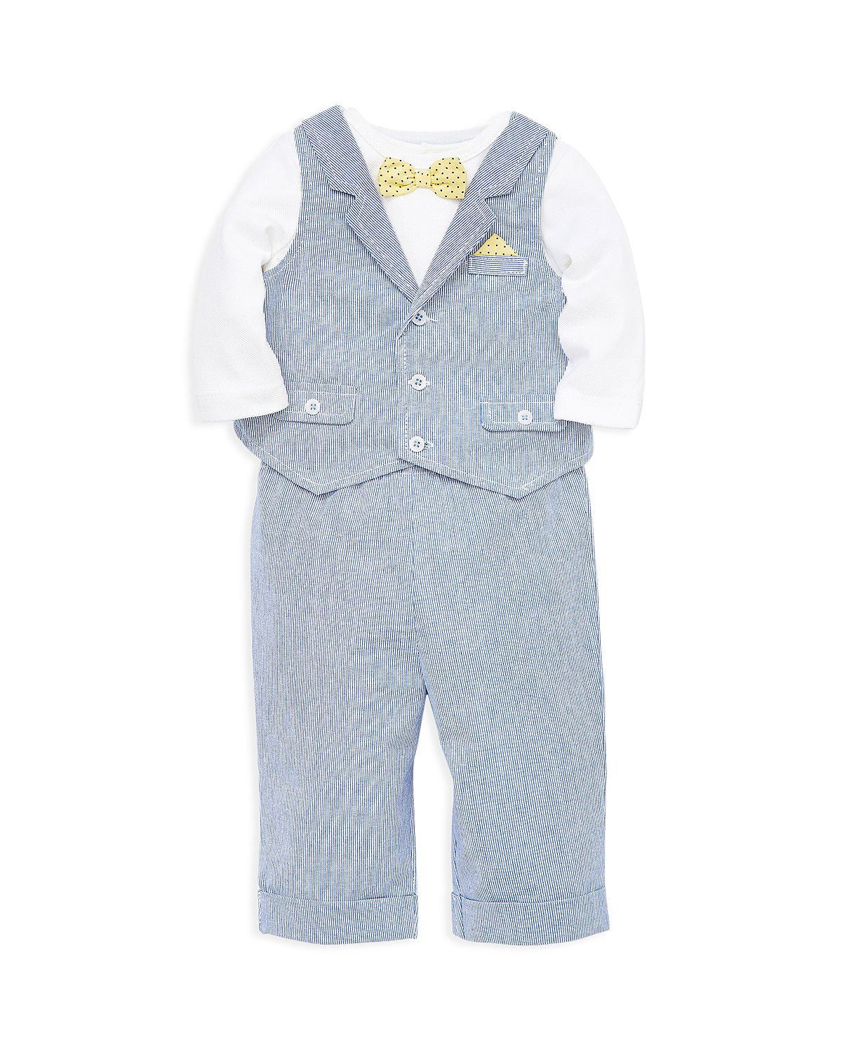 Little Me Three-Piece Bow Tie Bodysuit, Vest, and Pants Set
