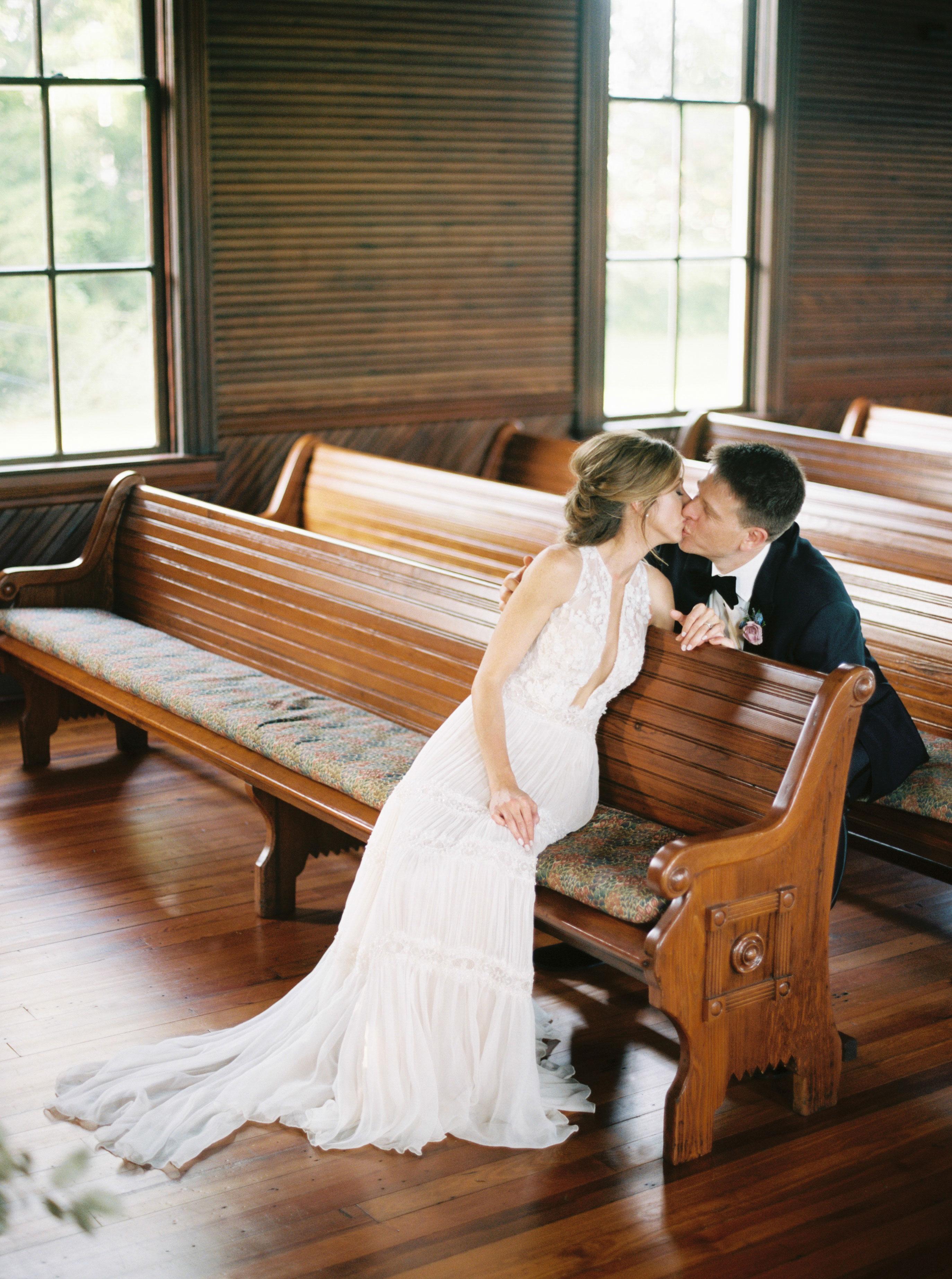 ashley adam wedding texas church kiss