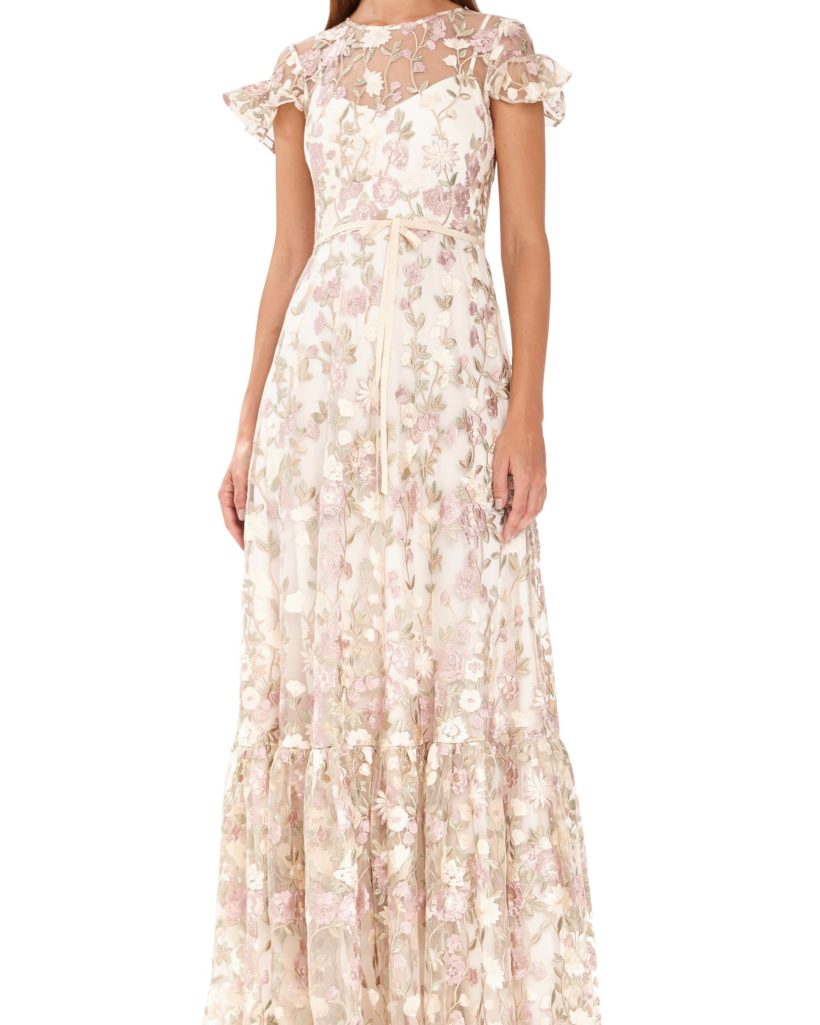ML Monique Lhuillier Floral Embroidered Mesh Evening Dress