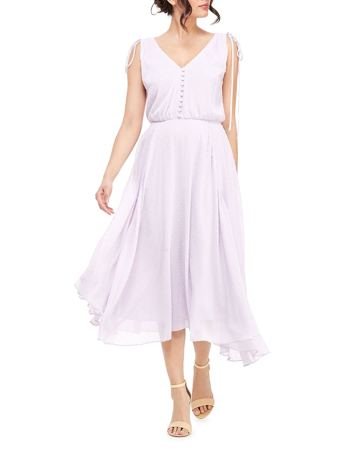Gal Meets Glam V-neck Sleeveless Tie-Shoulder Midi Dress