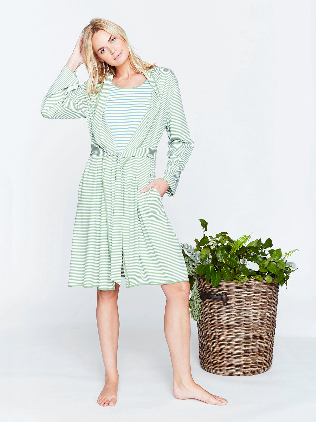 cotton anniversary gift robe green striped woman