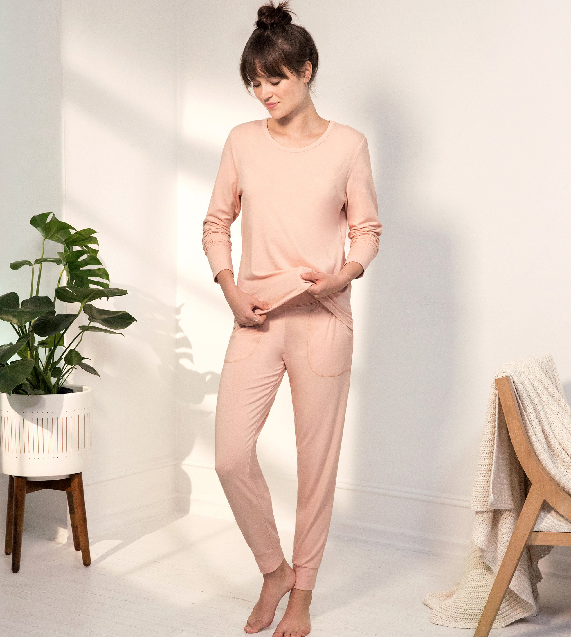cotton anniversary gift peach jogger set