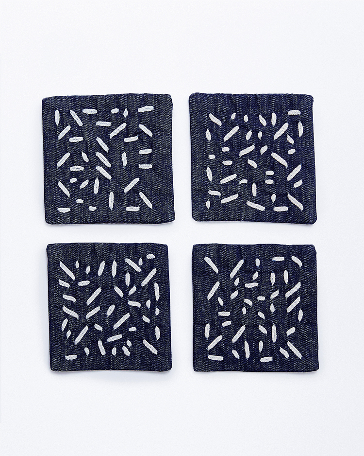 cotton anniversary gift embroidered denim coasters