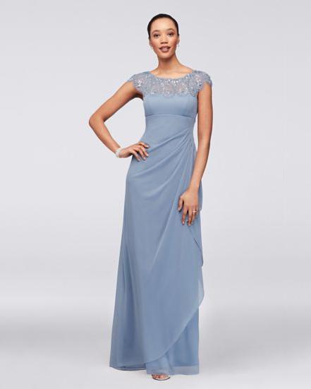 blue cap sleeve gown