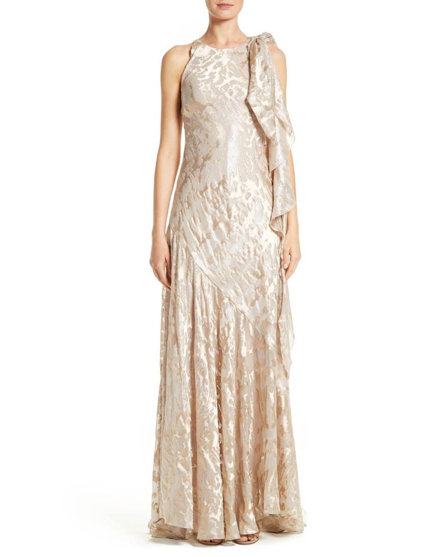 Talbot Runhof Metallic Jacquard Gown