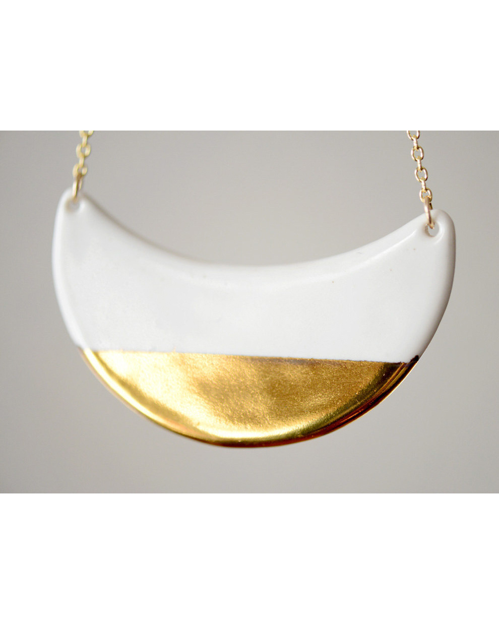gold dipped porcelain necklace crescent