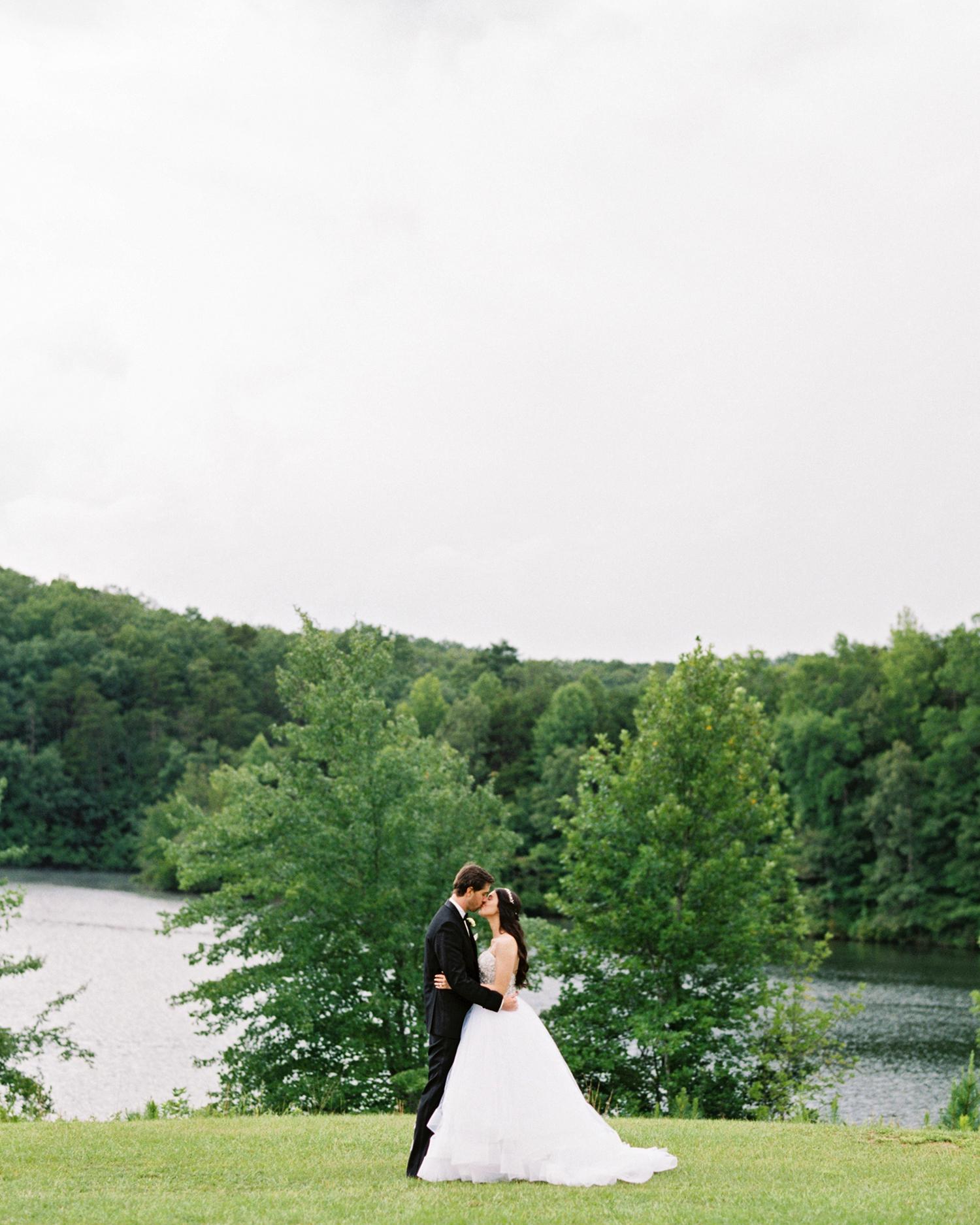 dani jackson wedding kiss near water