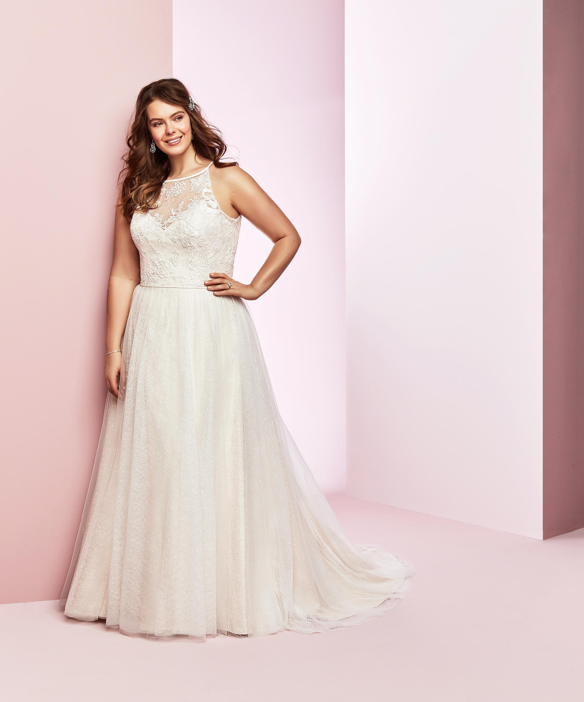 Rebecca Ingram wedding dress spring 2019 a-line high neckline lace