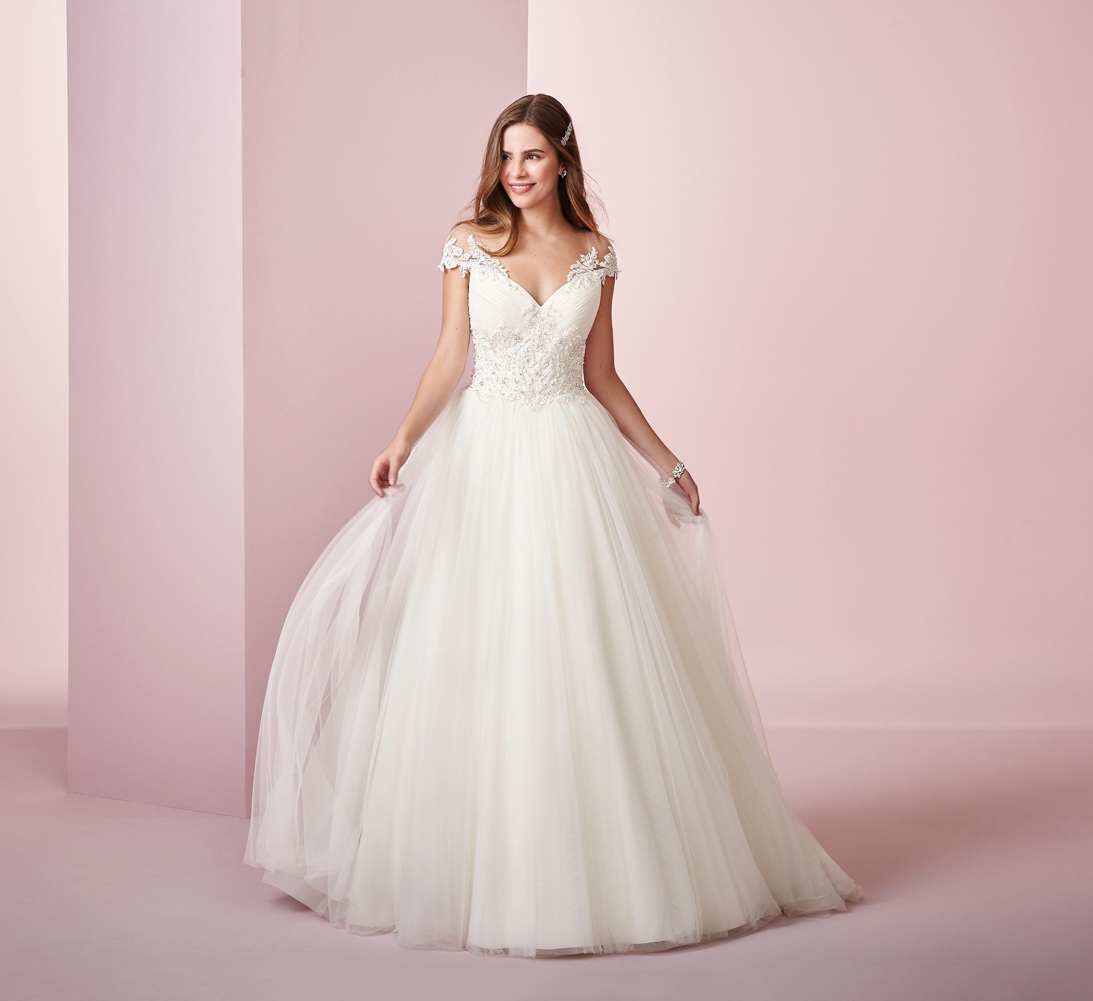 Rebecca Ingram wedding dress spring 2019 ball gown off the shoulder tulle