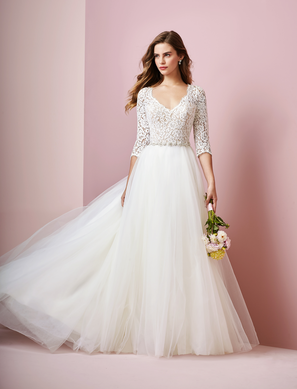 Rebecca Ingram wedding dress spring 2019 a-line three-quarter length sleeves lace