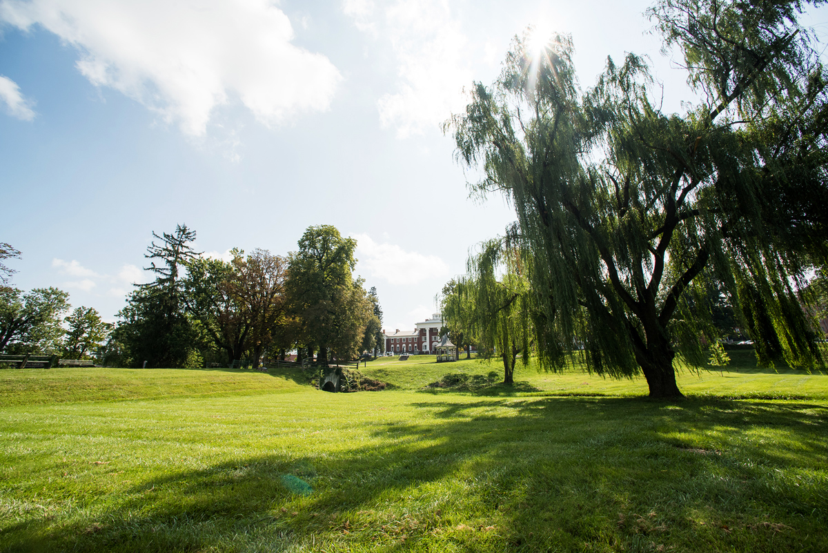new venue outdoor green trees grass building in distance