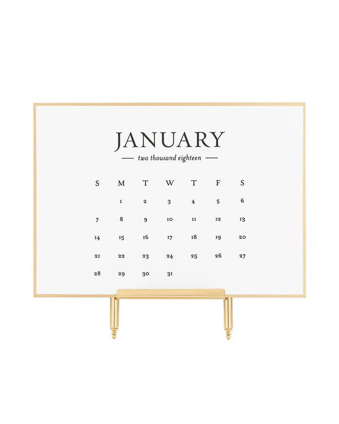 paper calendar gold trim