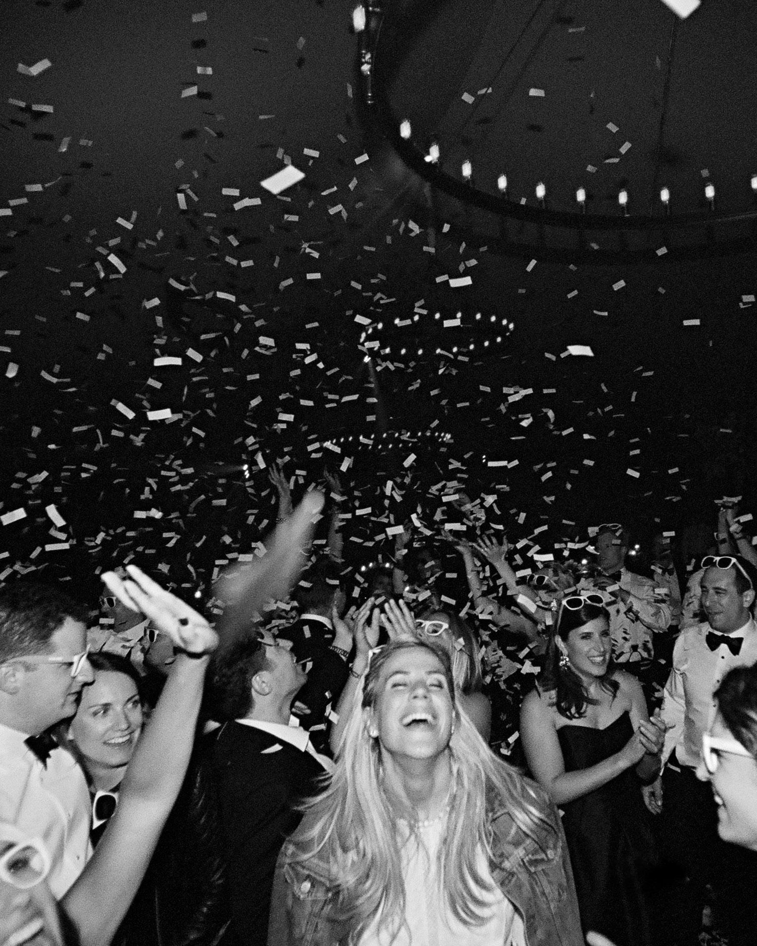 whitney zach wedding guests dancing confetti