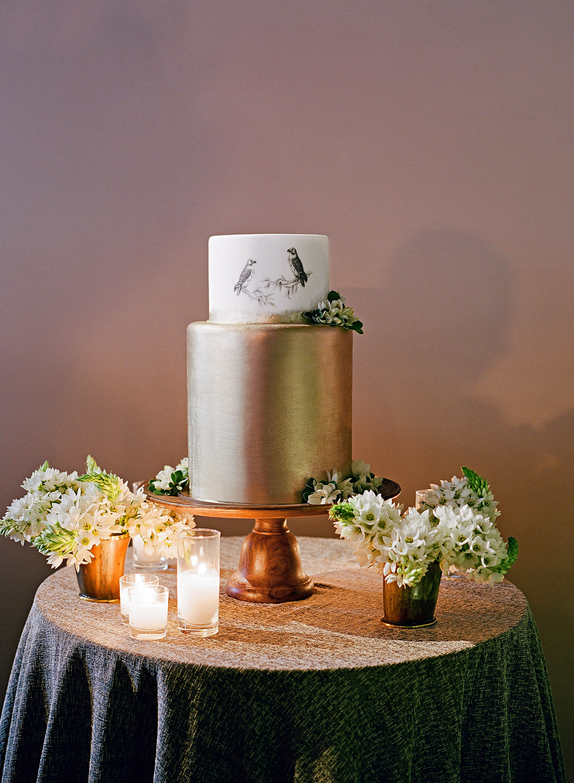 whitney zach wedding cake gold with birds