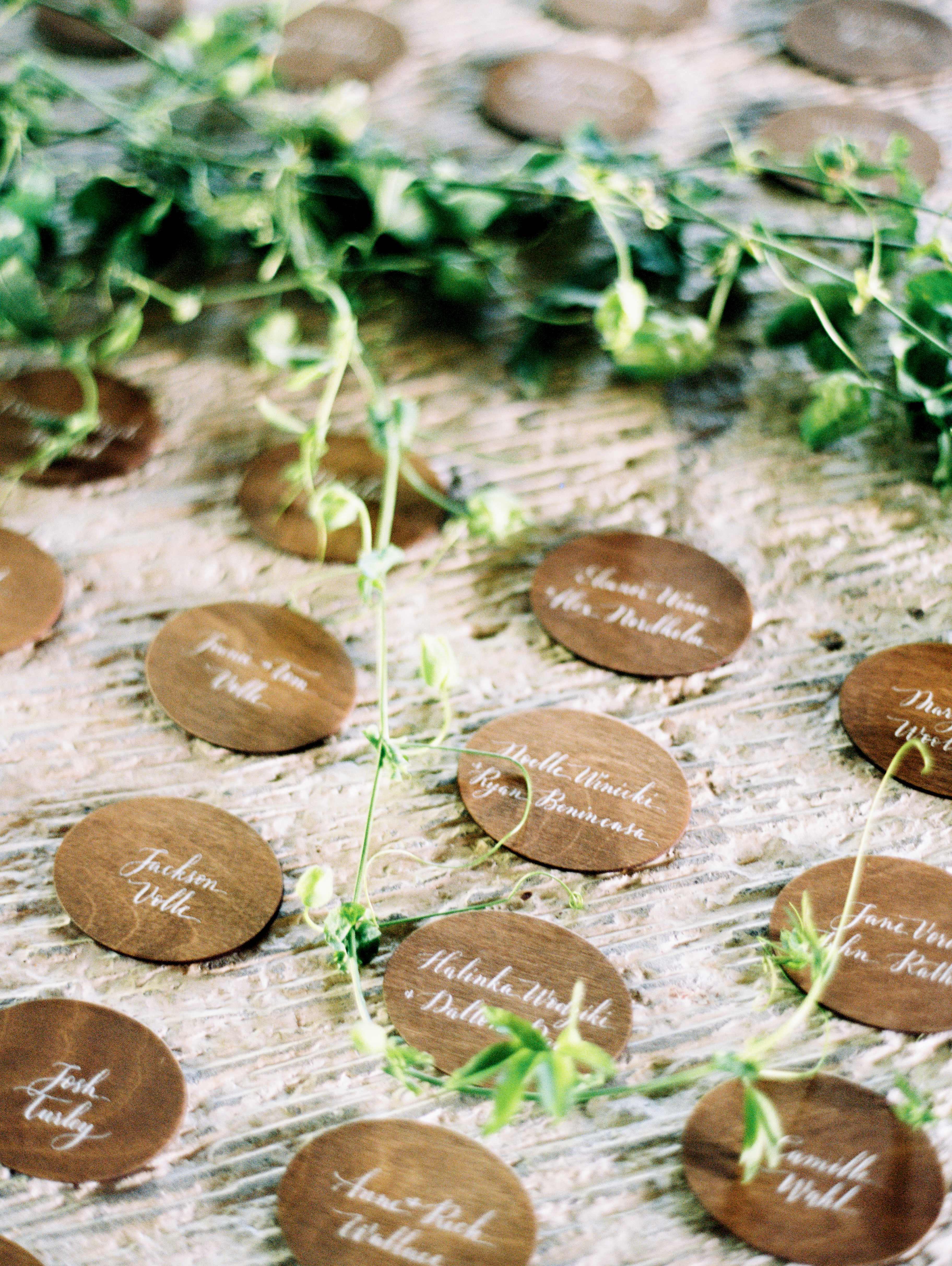 hannah chris wedding north garden va wood escort cards