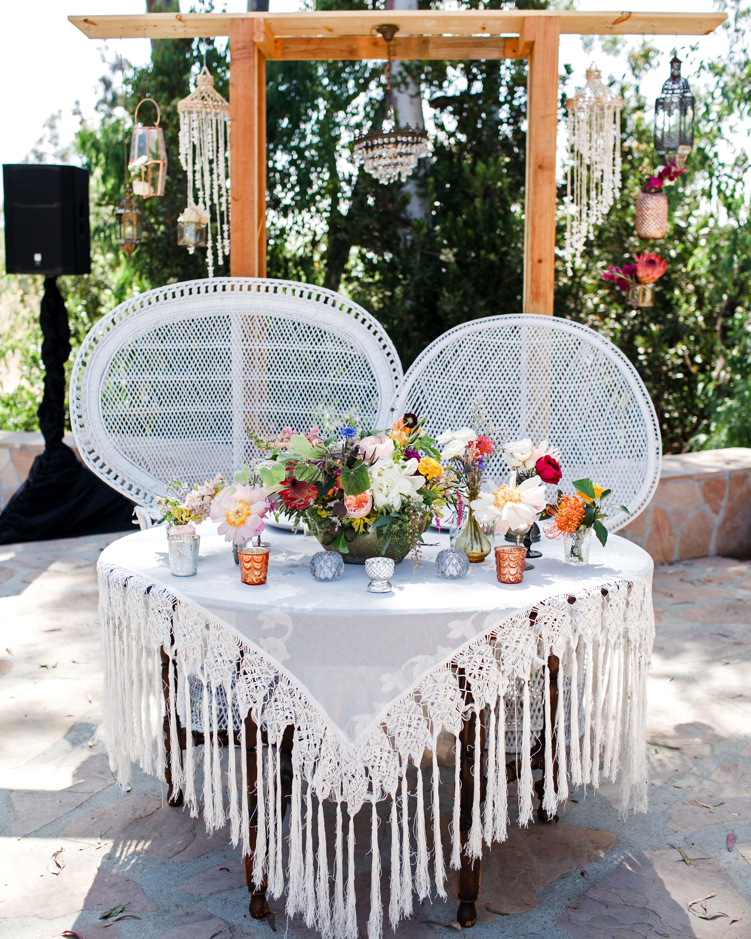 vintage lace tablecloth peacock chairs