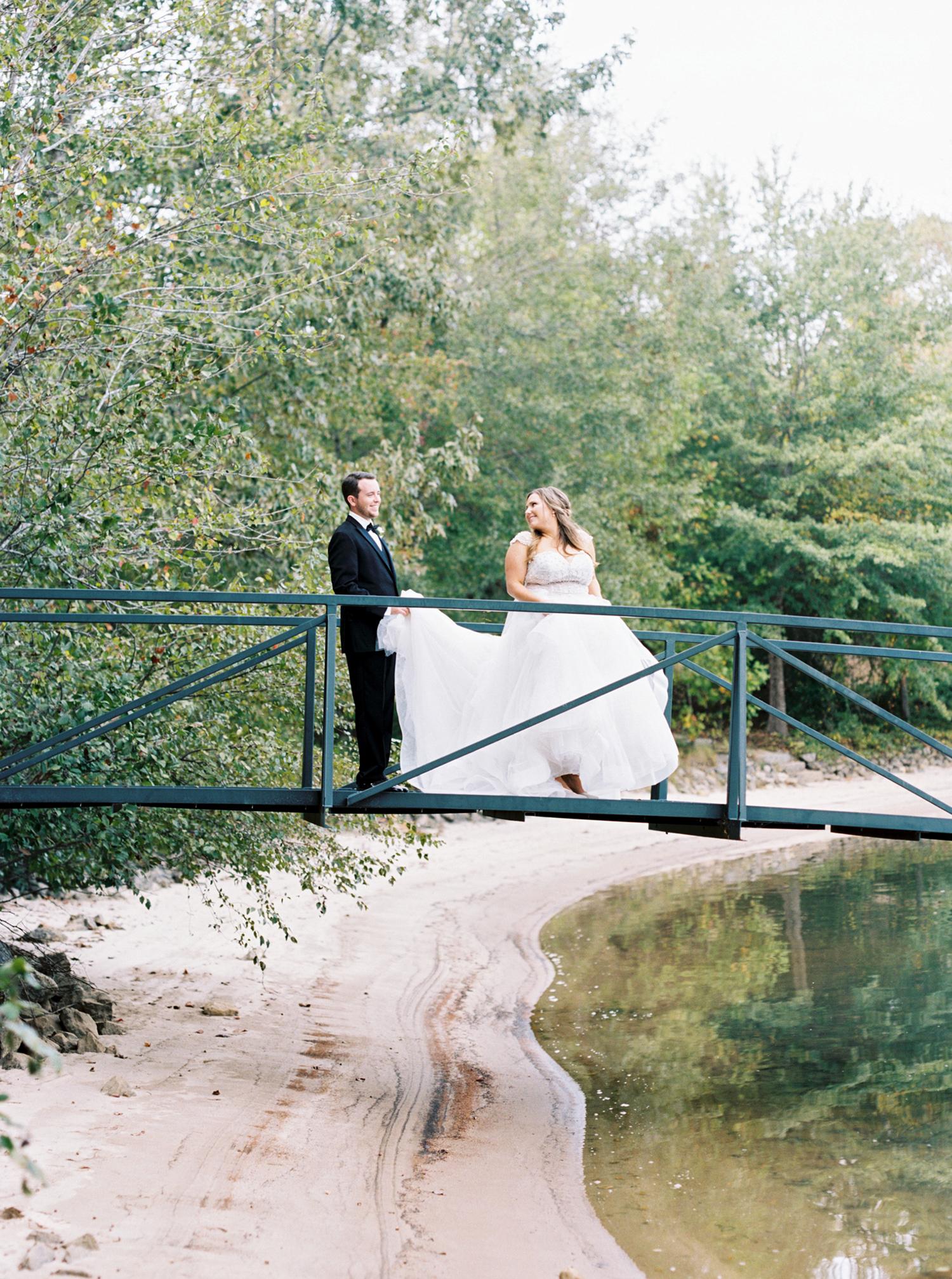 brittany alex wedding couple on bridge