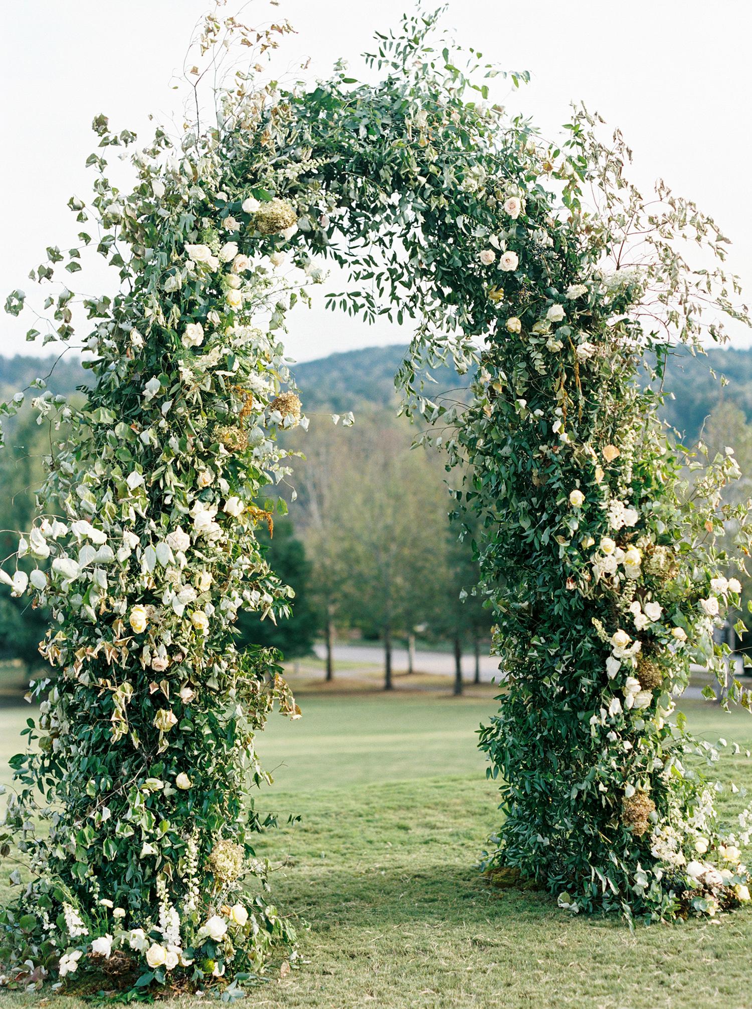 brittany alex wedding floral arch