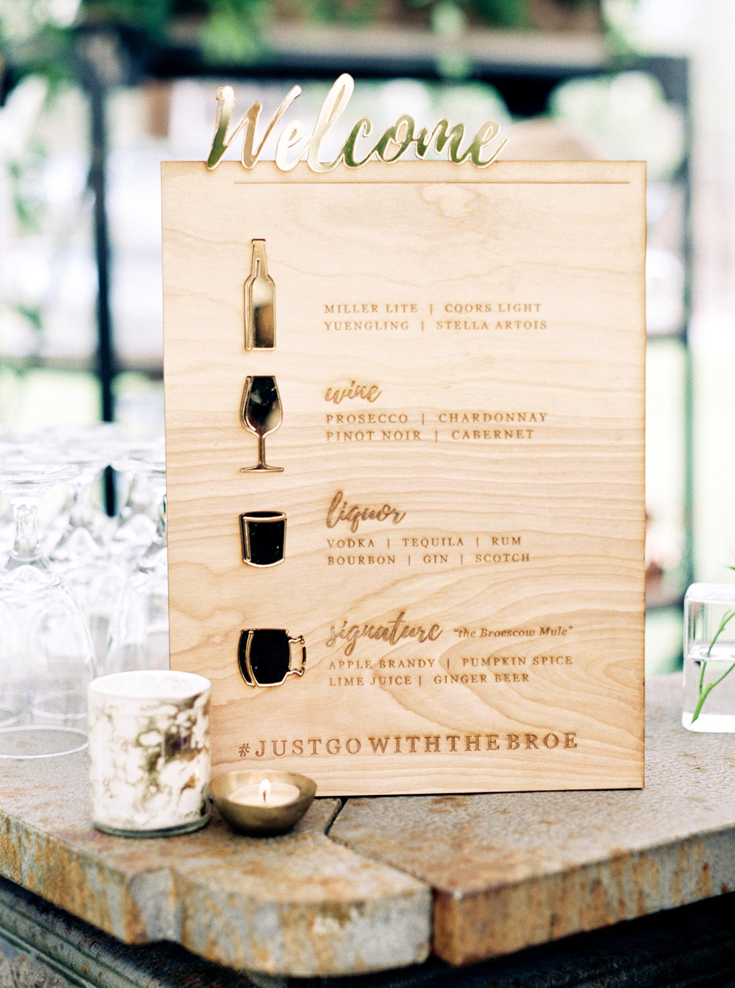 brittany alex wedding bar menu