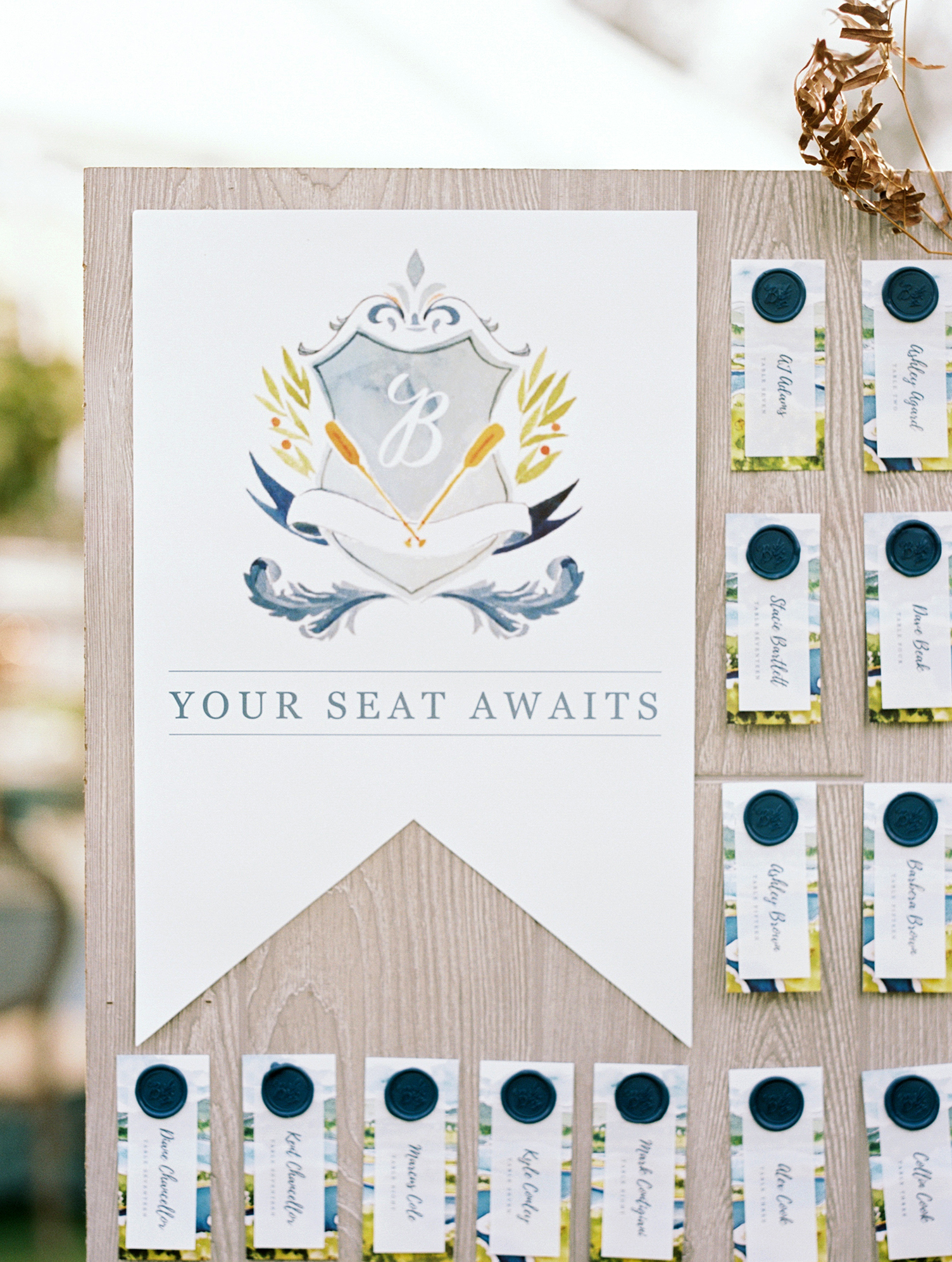 Crest-Inspired Escort Card Display