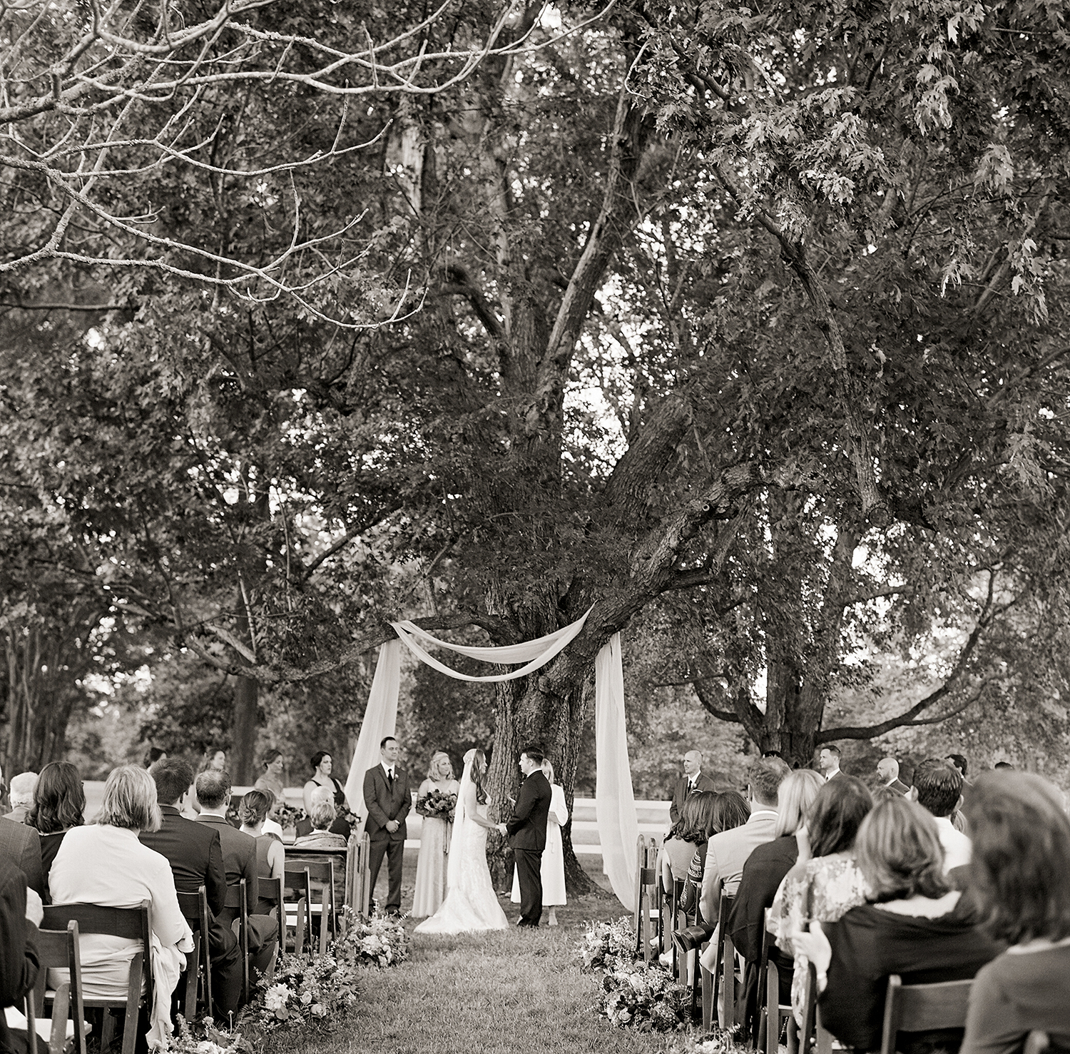 jen geoff wedding ceremony under trees