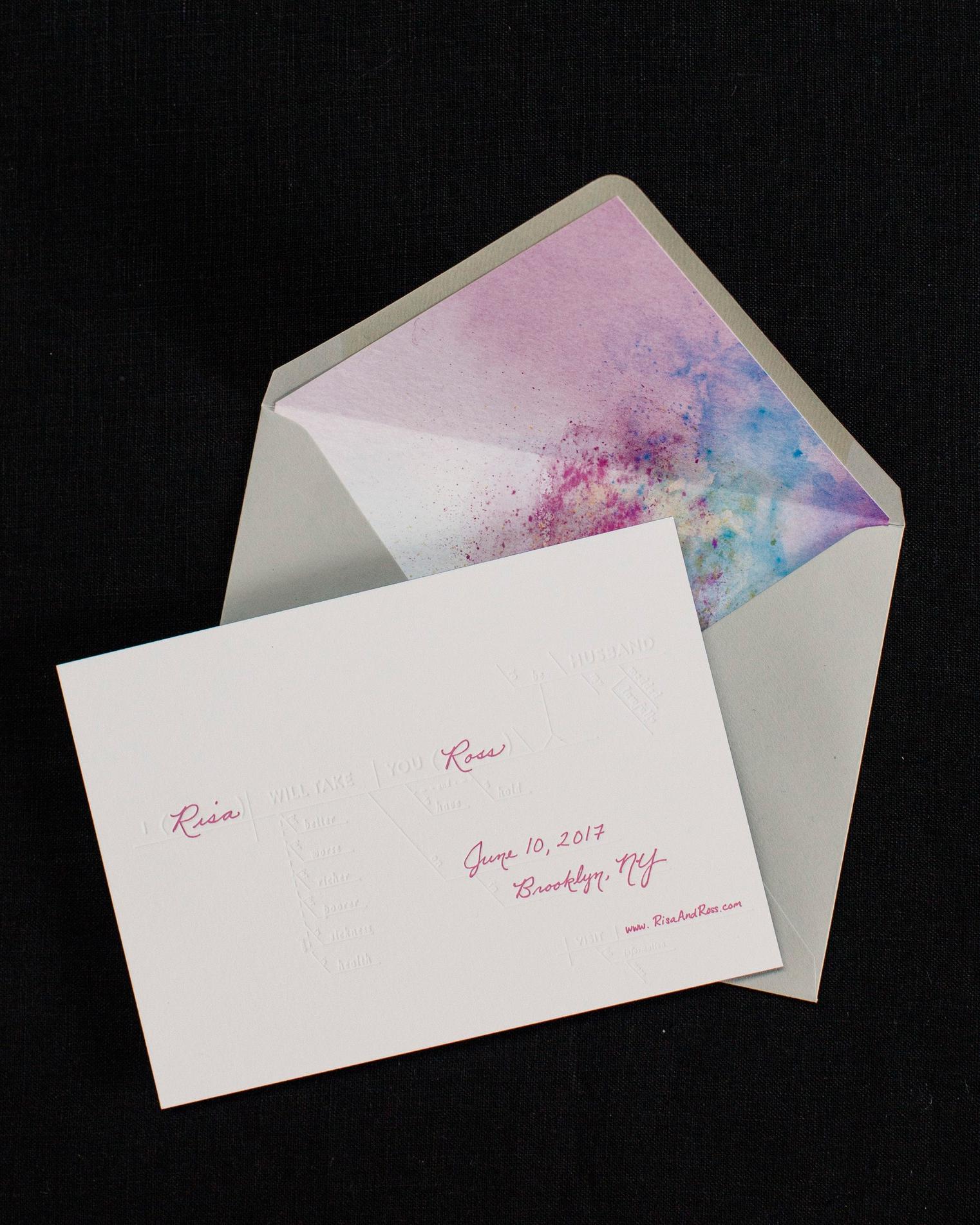risa ross wedding brooklyn new york invitation