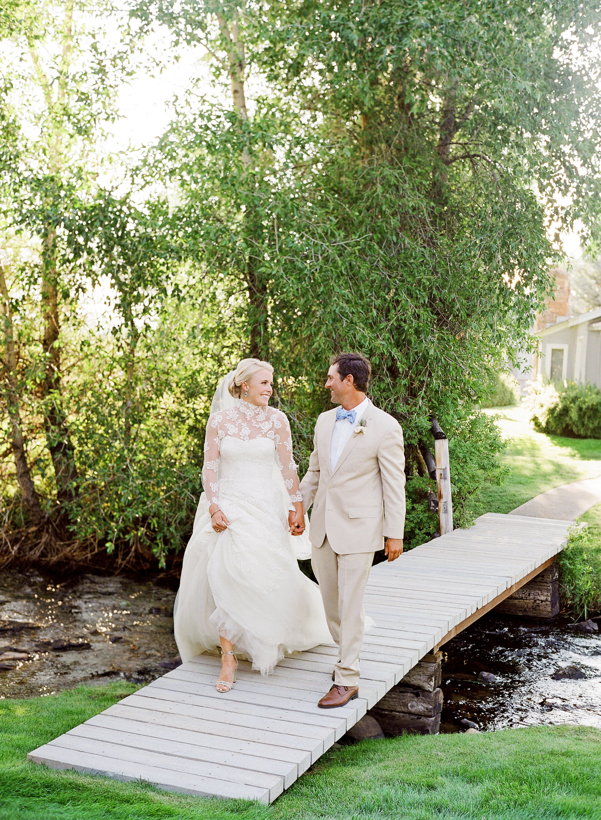 bessie john wedding couple on bridge