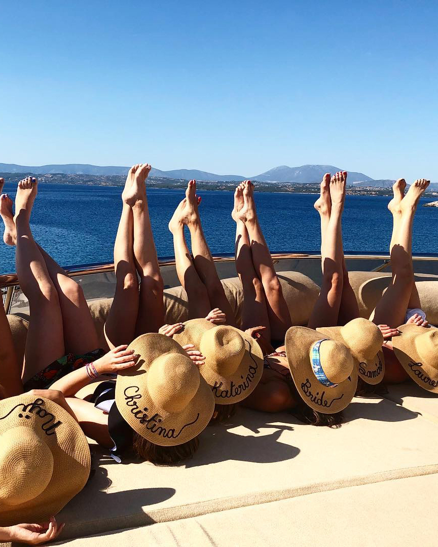 real brides bachelorette group mediterranean cyclades hats
