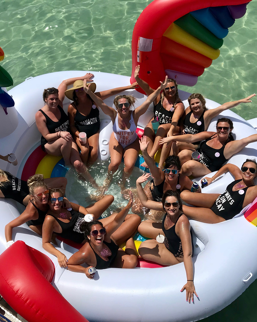 real brides bachelorette group florida floating