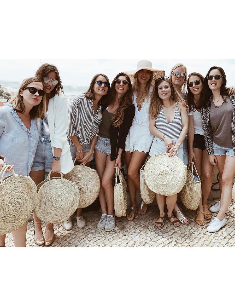 real brides bachelorette group woven circle totes
