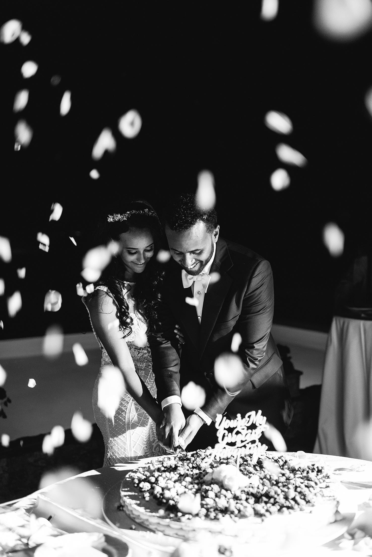 veronica mickias bride and groom cutting cake