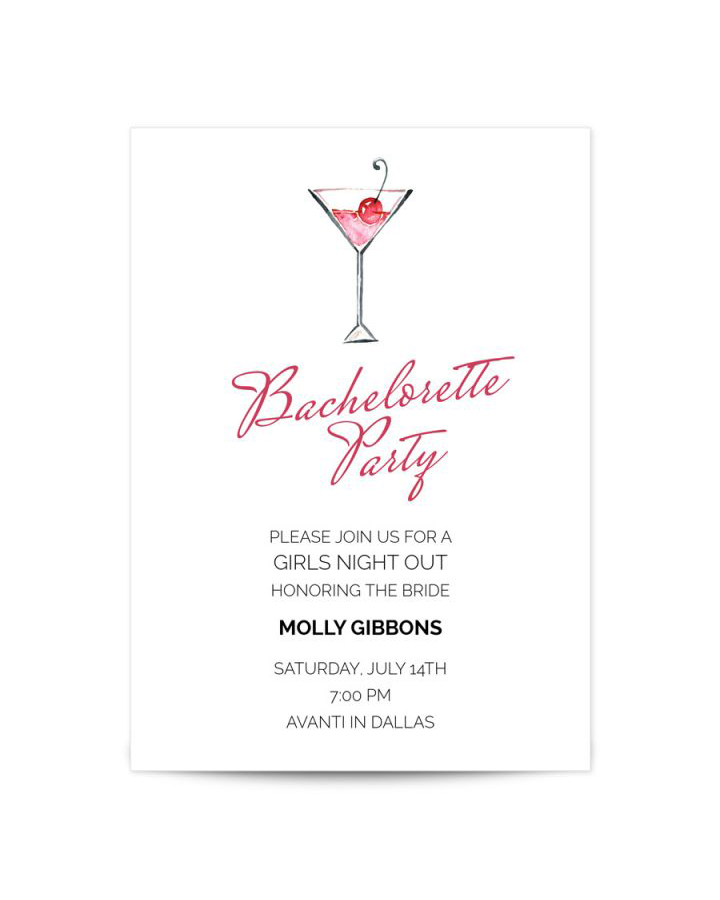 bachelorette party invites papyrus martini