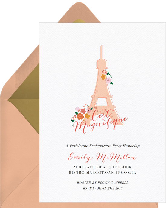 bachelorette party invites greenvelope paris