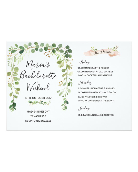 bachelorette party invites zazzle greenery