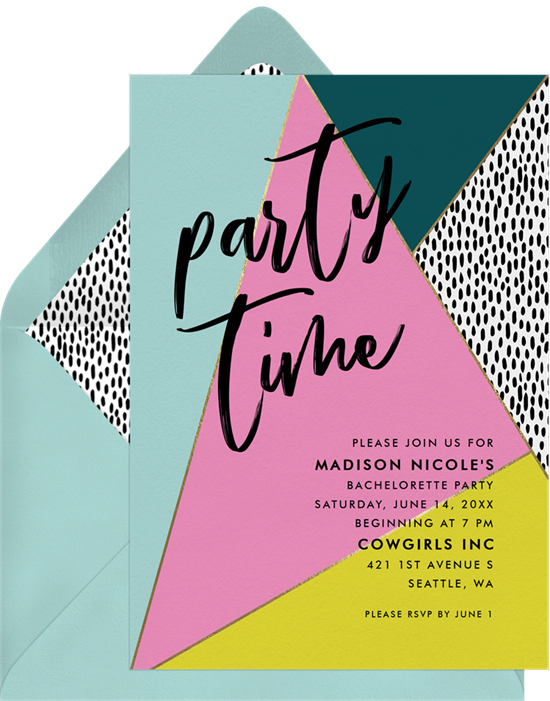 bachelorette party invites greenvelope multicolor