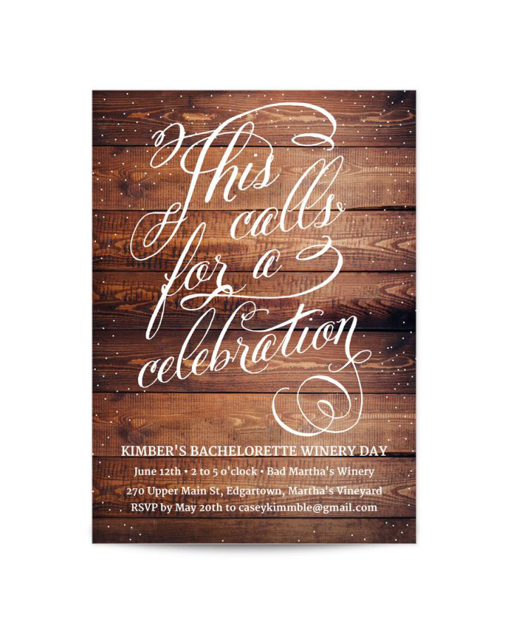 bachelorette party invites papyrus wood