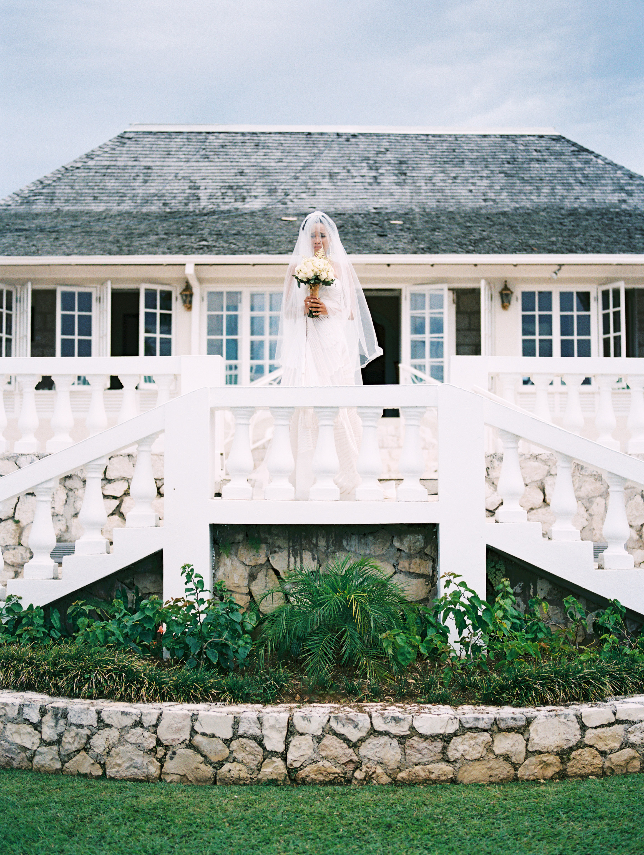 porsha terry wedding jamaica bride ceremony staircase