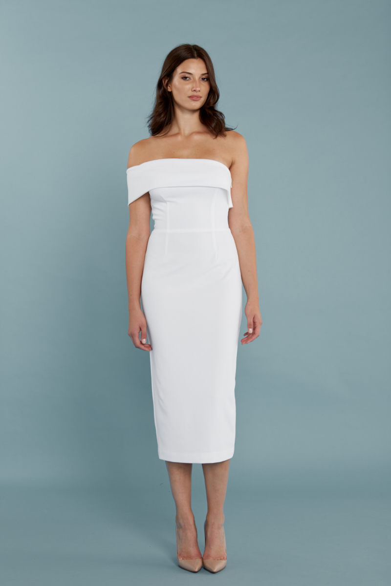 """Katie May """"Apollo"""" Short Bridesmaid Dress with Off-the-Shoulder Strap"""