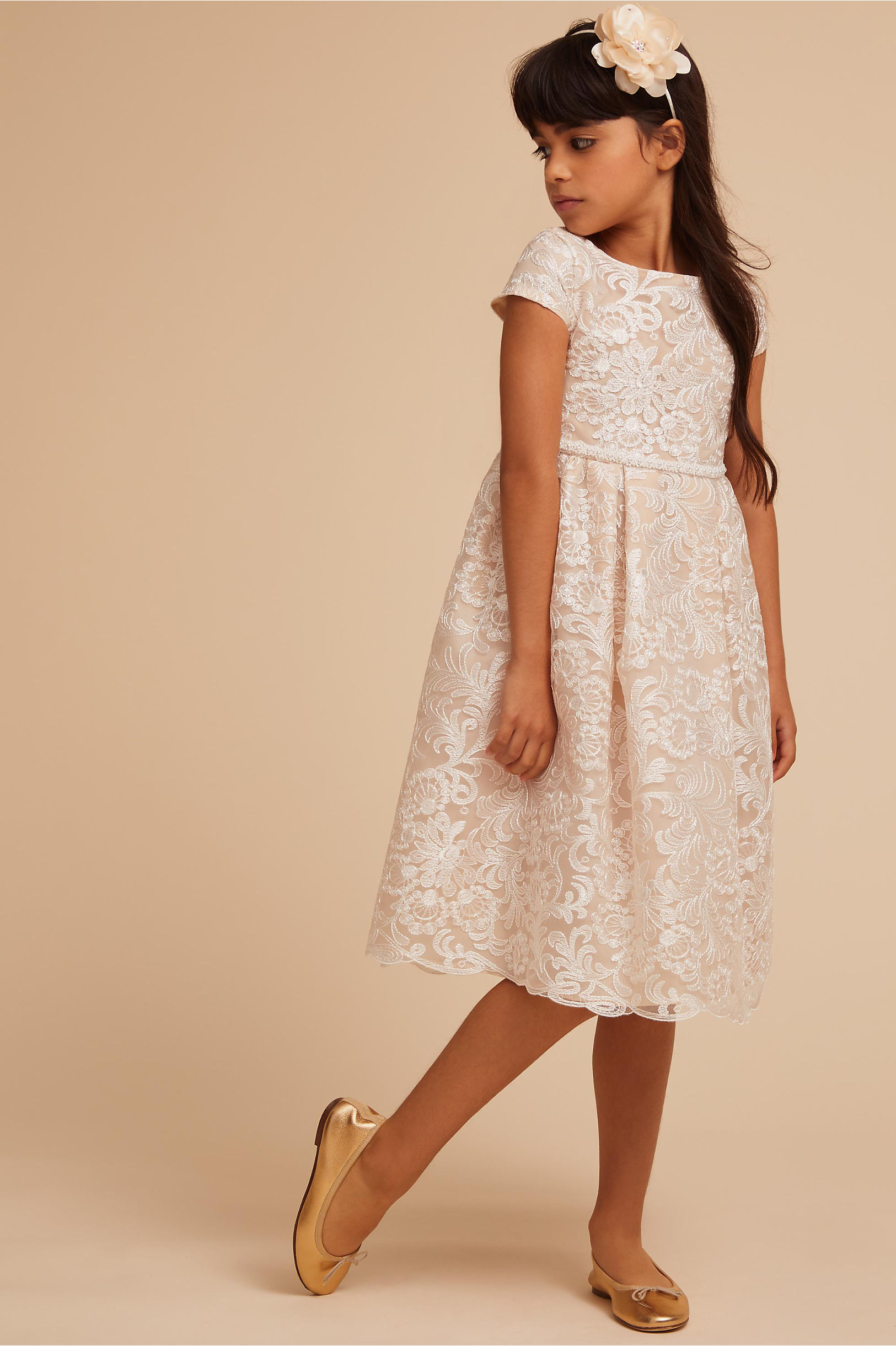 "Short Sleeve Flower Girl Dress, BHLDN ""Aubrie"" Dress"